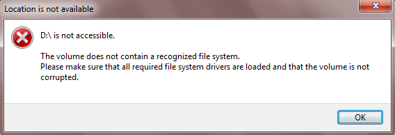 The volume does not contain a recognized file system.